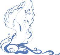 Stock Illustration of Swan floating on the waves. EPS10 vector illustration