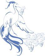 Bird of paradise which holds in its beak vines. EPS10 vector illustration Stock Illustration