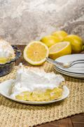 Slice of lemon meringue pie - stock photo