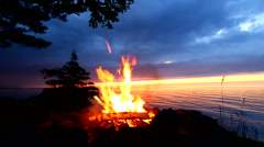 Great Lakes Beach Fire Stock Footage