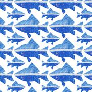 seamless pattern to any surface with blue marine fish - stock illustration