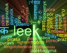 Leek multilanguage wordcloud background concept glowing - stock illustration