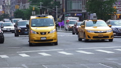Yellow Taxi Van In New York City Stock Footage