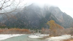 Fogy mountains of Kamikochi, Nagano Prefecture, Japan Stock Footage