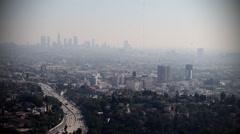 LOS ANGELES SKYLINE SCRATCHY FILM LOOP - stock footage