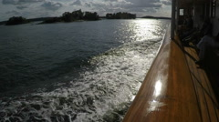 Slow motion from Steamboat in Stockholm archipelago - port - bow view - stock footage