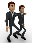 3d man friend walking and in good mood concept - stock illustration
