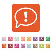 The exclamation mark icon. Attention speech bubble - stock illustration