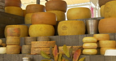 Stacked wheels cheese Stock Footage