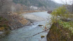 View from Kappabashi Bridge in Kamikochi, Nagano Prefecture, Japan Stock Footage