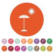 The parasol icon. Vacation symbol. Flat Stock Illustration
