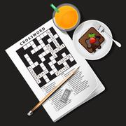 Illustration of crossword game with orange juice and chocolate cake Stock Illustration