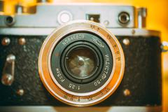 Zorki 2-S is small-format rangefinder camera introduced in 1956 by KMZ factory Stock Photos