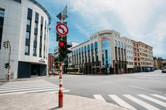 Traffic lights at the intersection Route d'Arlon in Luxembourg c - stock photo