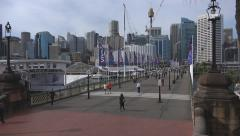 Pyrmont Bridge across Darling Harbour, Sydney - stock footage