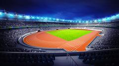 Stock Illustration of athletics stadium with track and grass field at corner view