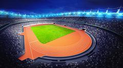 Stock Illustration of athletics stadium with track and grass field at upper night view