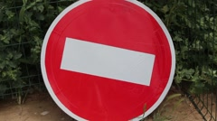 Prohibitory stop traffic sign Stock Footage