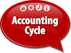 Accounting Cycle Business term speech bubble illustration - stock illustration