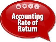 Accounting Rate of Return Business term speech bubble illustration - stock illustration
