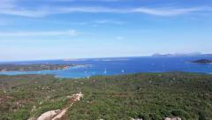 Aerial of the beautiful costa smeralda at sardinia. Stock Footage