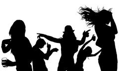 Dancing Group Silhouette Stock Illustration