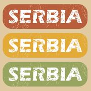 Stock Illustration of Vintage Serbia stamp set