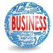 Business word on the sphere Stock Illustration