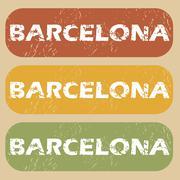 Vintage Barcelona stamp set - stock illustration