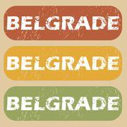 Vintage Belgrade stamp set - stock illustration