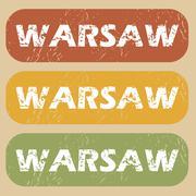 Vintage Warsaw stamp set - stock illustration