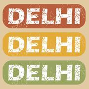 Vintage Delhi stamp set - stock illustration