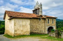 Chapel of St Nicholas in the tiny French hamlet of Harambels. - stock photo
