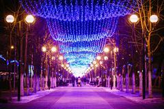 Festive Illumination On Street In Gomel. New Year In Belarus - stock photo