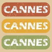 Vintage Cannes stamp set - stock illustration