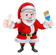 Cartoon Santa Giving Thumbs Up and Holding Paintbrush Stock Illustration