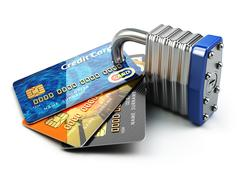 Secure payment internet online shopping concept.. Credit cards and padlock. Piirros