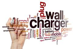 Wall charger word cloud concept Stock Photos