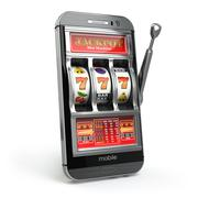 Online casino concept. Mobile phone and slot machine with jackpot. - stock illustration