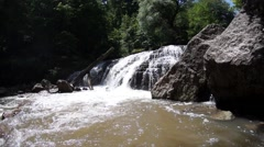 Waterfall on the mountain river Stock Footage