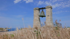Alarm bell in ancient city of Tauric Chersonesos. - stock footage