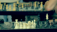 Chessboards, people playing chess in Washington Square Park NYC, detail  Stock Footage