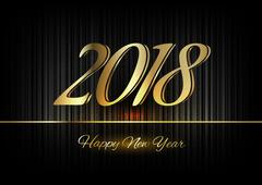 Gold New Year 2018 Luxury Symbol - stock illustration