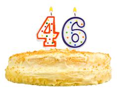 birthday cake candles number forty six isolated - stock photo