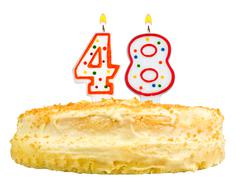 birthday cake candles number forty eight isolated - stock photo