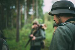 Stock Photo of Unidentified re-enactor dressed as German soldier during events