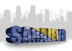 Stock Illustration of text sarajevo with national flag of bosnia and herzegovina