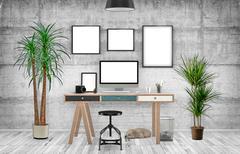 Desktop Mockup, 3D illustration - stock illustration