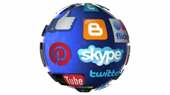 4K Editorial spinning globe - popular social media companies in the world Stock Footage