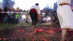 Nestinari walking on fire Stock Footage